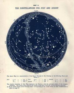 1887 antique astronomie Star Atlas carte X juillet graphique zodiac août Original Vintage étoiles constellation, observation des étoiles car...