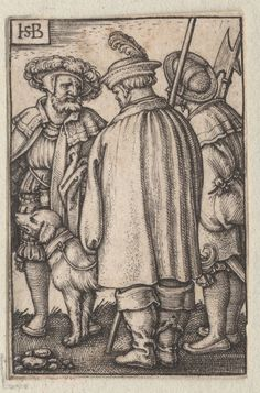 1450-1600 Beham, Hans Sebald (artist)  trois soldats et le chien. One of a collection of illustrations of Austrian soldiers. Three figures and dog. Copyright - Anne S.K. Brown Military Collection at Brown University