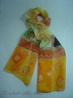 Sciarpa Batik dipinta a mano su seta naturale silk di AdeleDaniele