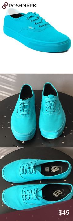 Men's Mono Turquoise Vans (Women's Size 12) In excellent condition. Mono tone turquoise blue Vans. Offers welcomed! Vans Shoes Sneakers