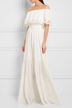 Temperley London | Felicity off-the-shoulder lace-trimmed silk crepe de chine…