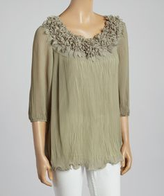 Loving this Green Chiffon Three-Quarter Sleeve Linen-Blend Top on #zulily! #zulilyfinds