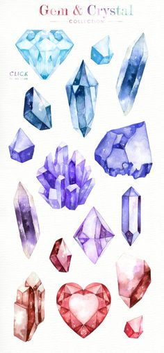 Gem and Crystal Watercolor Collection Diamonds Crystals Stones Clip Art Commercial Use Digital Crystal Illustration, Digital Illustration, Gem Drawing, Crystal Drawing, Crystal Tattoo, Arte Sketchbook, Clipart, Art Inspo, Art Reference