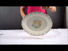 Vintage Crown Potteries Co. Platter, Floral Embossed Laurel