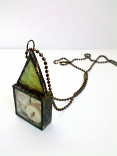 Stained Glass Antique Button Soldered Shadowbox pendant by Mystarrrs