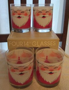 Vintage Georges Briard Christmas Glasses I'd love to find these. Christmas Glasses, Christmas Cocktails, Santa Face, Retro Christmas, Light Switch Covers, Kids House, Favorite Holiday, Barware, 1960s