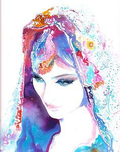 Original Watercolour Painting. Watercolor Fashion. Titled: Bride