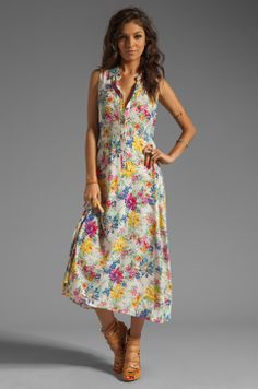 Lucca Couture Collared Tank Maxi Dress in Ivory Floral
