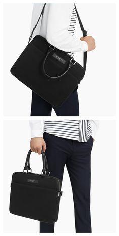 WANT Les Essentiels Haneda 15 slim computer bag Black Leather Backpack, Black Tote Bag, Minimalist Bag, Minimalist Fashion, Mens Essentials, Travel Essentials, Slow Fashion, Mens Fashion, Computer Bags