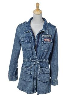 87bfb02420b7 Anna-Kaci S M Fit Blue Acid Wash Chunky Thick L S US Army Patches Denim  Jacket Anna-Kaci.  37.90