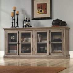 Sauder Barrister Lane TV Stand from Wayfair. Shop more products from Wayfair on Wanelo. Tv Stand With Glass Doors, Tempered Glass Door, Cool Tv Stands, Glass Cabinet Doors, Glass Shelves, China Cabinet, Media Cabinet, Rustic Office, Repurposed Furniture