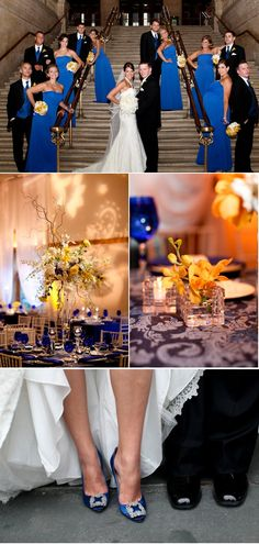 Ivy Room at Tree Studios Wedding by Robyn Rachel Photography – Style Me Pretty Wedding Pics, Wedding Bells, Dream Wedding, Wedding Day, Cobalt Wedding, Yellow Wedding, Wedding Champagne, Champagne Flutes, Wedding Color Schemes
