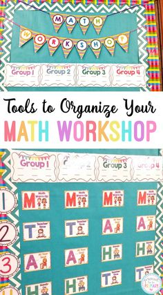 Organize your classroom math block using a math workshop toolkit. With these tools you will have what you need to set up a rotation bulletin board, and create daily plans for your lessons and activities. #classroomorganization #mathworkshop #teachingmath #mathforkids #mathactivities