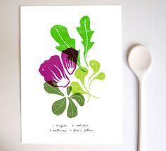 SALAD - Kitchen Art Print / Food Art / high quality fine art print. $30.00, via Etsy.