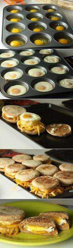 Incredible breakfast hack: bake dozens of eggs in muffin tins for a big batch of. Incredible breakfast hack: bake dozens of eggs in muffin tins for a big batch of breakfast sandwiches Breakfast Sandwich Recipes, Breakfast And Brunch, Breakfast Bake, Make Ahead Breakfast, Breakfast Dishes, Sandwich Ideas, Breakfast Parties, Brunch Party, Group Breakfast