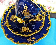 Germany Tea Cup And Saucer Trio Cobalt Blue & Etche Gold Gilt Teacup Rose