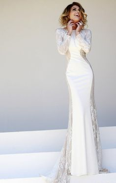 White Lace Evening Gowns 2014 Bateau Long Sleeve Satin Mermaid Ssj ...