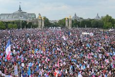 Protestors in Paris marching against marriage equality. This is sickening :(