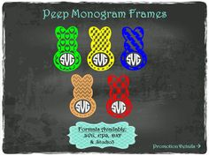 Peep Monogram Frames in .SVG .EPS .DXF & .Studio3 formats Craft Cut Die Cutters Digital Vector Files Instant Download by TheSVGFontStore on Etsy
