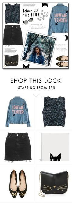 """""""Feline Fashion ☺️🐱"""" by w-wildroses-s ❤ liked on Polyvore featuring Topshop, Kate Spade, Ted Baker, RetroSuperFuture, hairtrend, cute, rainbowhair and feelinefashion"""