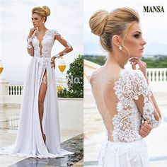 MANSA Elegant V Neck Open Back Top Lace Sheer Back With Sleeves Wedding Long Dress With High Slit Vestido De Noiva Curto-in Wedding Dresses from Apparel & Accessories on Aliexpress.com | Alibaba Group