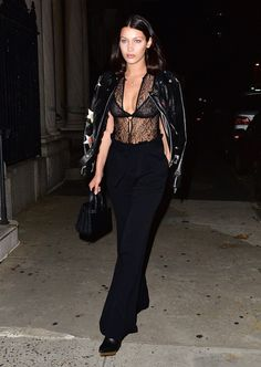 It's baaaaack! The going-out-top of the early '00s has returned with a vengeance—like this sheer lace number worn by Bella Hadid.