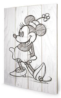 Minnie Mouse Sketched - Single Wood Sign Znak drewniany