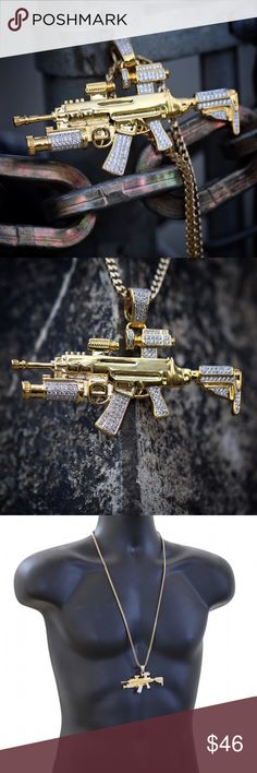 Hip Hop Gold Large Riffle Gun Pendant Necklace Iced Out Men's Hip Hop 18k Gold Large Riffle Gun Pendant Franco Chain Necklace Chain is 18k Gold Plated over 316 stainless steel. Riffle Pendant Size is 2.75 inches in width. Iced out with white lab diamonds over rhodium plating. Comes with a 4mm width 30 inch length 18k gold plated 316 stainless steel Italian Franco Chain. TSV Jewelers Accessories Jewelry