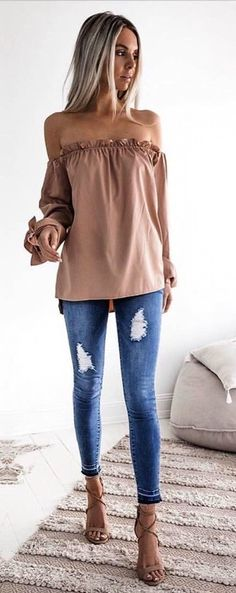 #Summer #Outfits / Beige Off The Shoulder Long Sleeve Blouse + Ripped Jeans