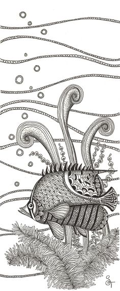 Tangle Fish pen and ink drawing. , via Etsy.