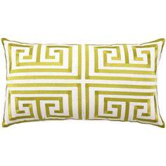 Trina Turk Greek Key Lime Embroidered Linen Pillow @Zinc_Door