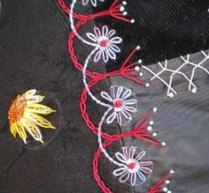crazy quilting by Jo in NZ.....like the yellow flower