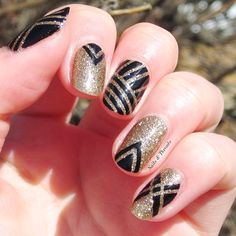 Nails & Threads (@nailsandthreads) | It's prom season again! This is my design for the girls with black and gold dresses, or a Great Gatsby themed prom! More details on the blog ~ nailsandthreads.blogspot.com | Intagme - The Best Instagram Widget #prom nail art