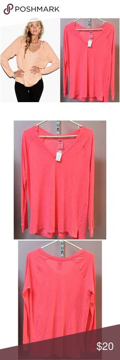 PINK VS Long Sleeve Day Shirt Brand new with tag. Size XS, S, M available. V neck. Loose, baggy fit. Super Comfy! 60% cotton 40% polyester. Color is 2nd two photos. PINK Victoria's Secret Tops