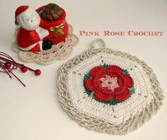 Pink+Rose+Crochet:+Pega+Panelas+Flor+Festiva+em+Hexágono