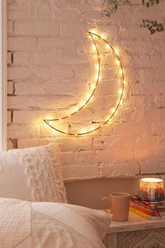 Geo Moon Light Sculpture. Light up your walls with this delicate light sculpture. Makes this room look dreamy. #light #sculpture #dreamy