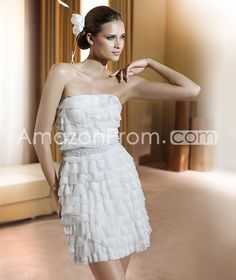 US $177.79 Awesome Short/ Mini Strapless Tiered Wedding Dresses 2014 Spring Trends