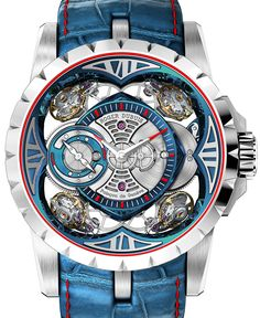 "Roger Dubuis Excalibur Quatuor Cobalt MicroMelt Watch - by Kenny Yeo - This bold piece is crafted from cobalt chrome. More details at: aBlogtoWatch.com - ""Let's be honest, subtlety isn't one of Roger Dubuis' strong suits. The brand is more recognized for its avant-garde and often outrageous designs and inventions. In 2013, it stunned the watchmaking world with the eye-catching Excalibur Quatuor watch. And now, Roger Dubuis is at it again with its new Quatour Cobalt MicroMelt watch..."""
