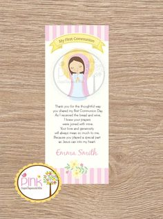 First Communion Favor Cards/  Bookmark / by PinkCajasyTarjetas / Etsy