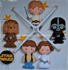Baby Felt Mobile, Star Wars Mobile, Hanging, Princess Leia, Han Solo, R2D2, C-3PO, Luke Skywalker, Chewbacca C3PO, EOS Baby Shower favor BBY
