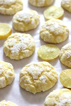 These soft and cute Eggless Lemon Crinkle Cookies are the perfect balance of sweet and tart. Eggless Desserts, Eggless Recipes, Eggless Baking, Baking Recipes, Cookie Recipes, Delicious Desserts, Dessert Recipes, Yummy Food, Lemon Crinkle Cookies