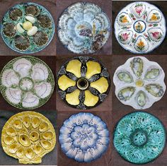 Wonderful selection of majolica oyster plates.  These are French Majolica oyster plates called: faïence. Beautiful, yes?