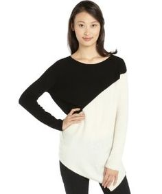 Wyattblack and cream cashmere colorblock asymmetrical hem sweater