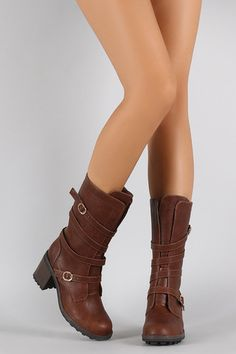These boots feature a buckle accent, round toe, stitch detailing, and chunky stacked heel. Vegan Leather, Leather Men, Riding Boots, Combat Boots, Mid Calf Boots, Trendy Outfits, Autumn Fashion, Booty, Clothes For Women