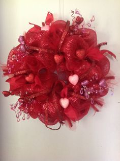 Deco Mesh Valentines Wreath by TammysFlowersandmore on Etsy, $60.00