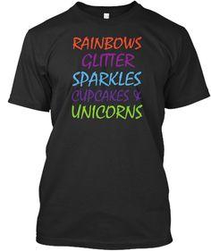 Rainbows Glitter Sparkles T Shirts! Black T-Shirt Front Rainbows 1fa12fec92a6