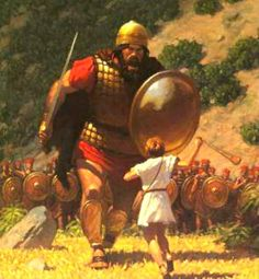 What moved young David to challenge Goliath, a fully armed giant who was about 9.5' tall? Respect for Jehovah & for his great name motivated David to take a stand against that towering giant. Relying on the true God, David brought down the Philistine champion with a single slingstone. Not only on that occasion but throughout his life, David trusted in Jehovah and held the divine name in the highest esteem. 1 Samuel 17:45