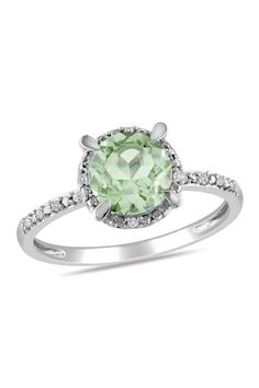 10K White Gold Pave Diamond Halo Green Amethyst Ring by Color Of The Month on @HauteLook