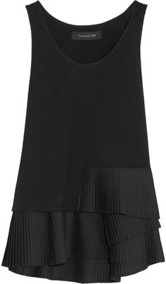 Thakoon Pleat-Trimmed Cotton-Jersey Top