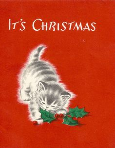 Vintage retro Christmas card kitten holly digital by BigGDesigns